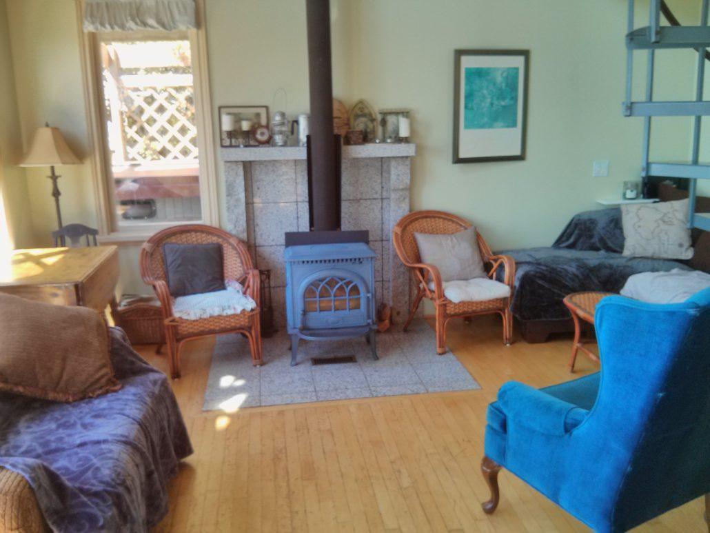 sitting room wood stove cottage